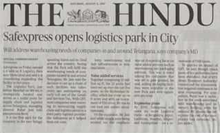 PRESS COVERAGE OF SAFEXPRESS LOGISTICS PARK LAUNCH AT HYDERABAD