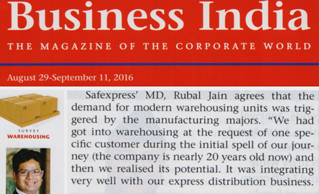 Business India magazine highlighted Safexpress warehousing presence PAN-India
