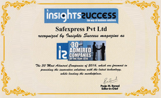 INSIGHTS SUCCESS MAGAZINE HONOURED SAFEXPRESS AS 'THE 30 MOST ADMIRED COMPANIES OF 2016'