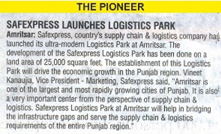 Media coverage of the launch of Safexpress' Logistics Park at Amritsar